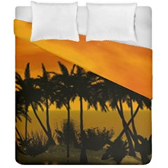 Sunset Over The Beach Duvet Cover (Double Size) by FantasyWorld7