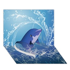 Cute Dolphin Jumping By A Circle Amde Of Water Heart Bottom 3d Greeting Card (7x5)