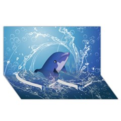 Cute Dolphin Jumping By A Circle Amde Of Water Twin Heart Bottom 3d Greeting Card (8x4)  by FantasyWorld7