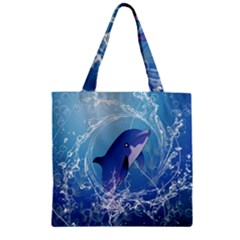 Cute Dolphin Jumping By A Circle Amde Of Water Zipper Grocery Tote Bags by FantasyWorld7