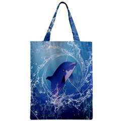 Cute Dolphin Jumping By A Circle Amde Of Water Zipper Classic Tote Bags by FantasyWorld7