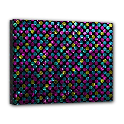 Polka Dot Sparkley Jewels 2 Canvas 14  X 11  by MedusArt