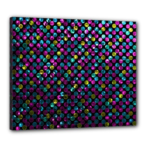 Polka Dot Sparkley Jewels 2 Canvas 24  X 20  by MedusArt