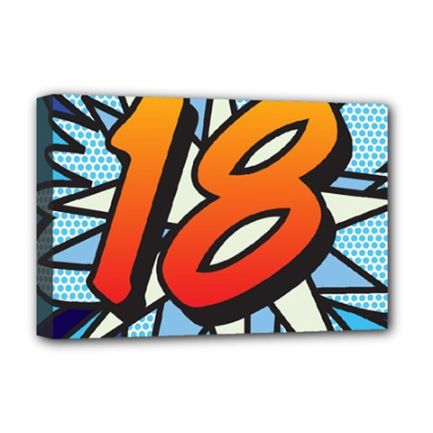 Comic Book 18 Blue Deluxe Canvas 18  X 12   by ComicBookPOP