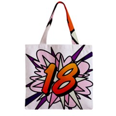 Comic Book 18 Pink Zipper Grocery Tote Bags by ComicBookPOP