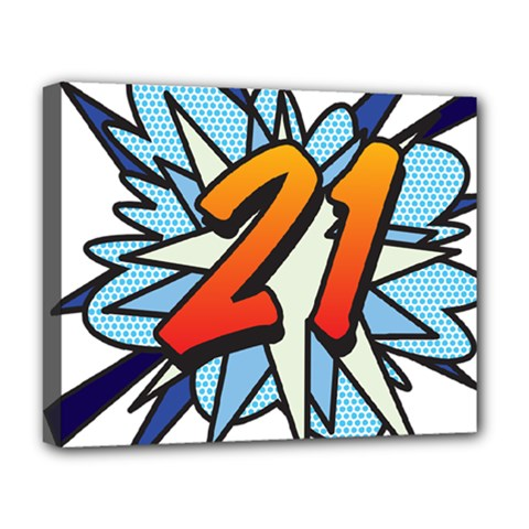 Comic Book 21 Blue Deluxe Canvas 20  X 16   by ComicBookPOP