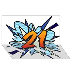 Comic Book 21 Blue Twin Heart Bottom 3d Greeting Card (8x4)  by ComicBookPOP