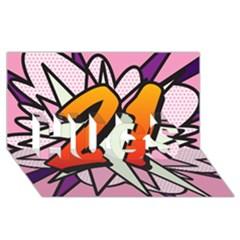 Comic Book 21 Pink HUGS 3D Greeting Card (8x4)