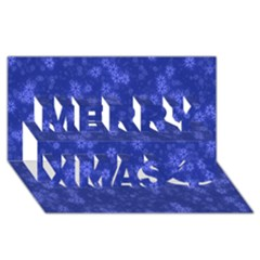 Snow Stars Blue Merry Xmas 3d Greeting Card (8x4)
