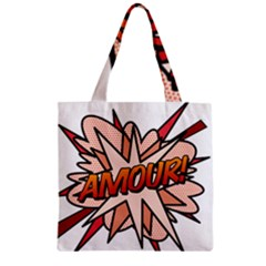 Comic Book Amour! Zipper Grocery Tote Bags by ComicBookPOP