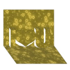 Snow Stars Golden I Love You 3d Greeting Card (7x5)