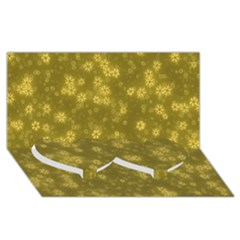 Snow Stars Golden Twin Heart Bottom 3d Greeting Card (8x4)