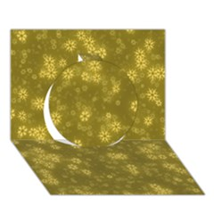 Snow Stars Golden Circle 3d Greeting Card (7x5)  by ImpressiveMoments