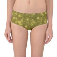 Snow Stars Golden Mid Waist Bikini Bottoms