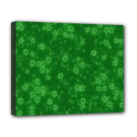 Snow Stars Green Deluxe Canvas 20  X 16   by ImpressiveMoments