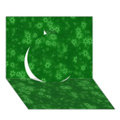 Snow Stars Green Circle 3d Greeting Card (7x5)