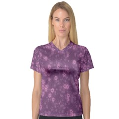 Snow Stars Lilac Women s V Neck Sport Mesh Tee by ImpressiveMoments