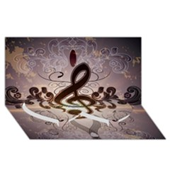 Music, Wonderful Clef With Floral Elements Twin Heart Bottom 3d Greeting Card (8x4)  by FantasyWorld7