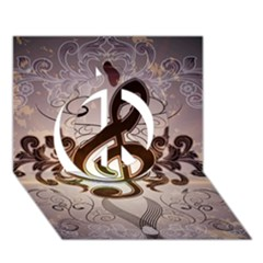 Music, Wonderful Clef With Floral Elements Peace Sign 3d Greeting Card (7x5)