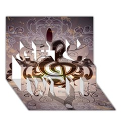 Music, Wonderful Clef With Floral Elements Get Well 3d Greeting Card (7x5)