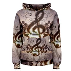 Music, Wonderful Clef With Floral Elements Women s Pullover Hoodies by FantasyWorld7