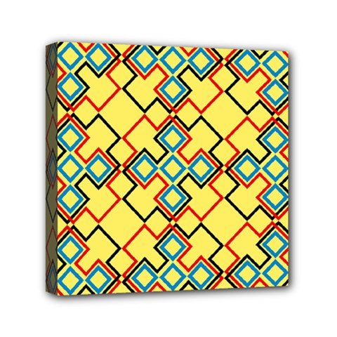 Shapes On A Yellow Background Mini Canvas 6  X 6  (stretched) by LalyLauraFLM