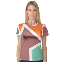Misc Shapes In Retro Colors Women s V Neck Sport Mesh Tee