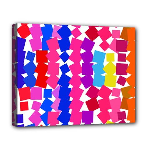 Colorful Squares Deluxe Canvas 20  X 16  (stretched) by LalyLauraFLM