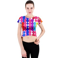 Colorful Squares Crew Neck Crop Top by LalyLauraFLM