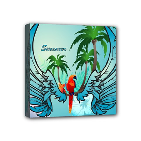 Summer Design With Cute Parrot And Palms Mini Canvas 4  X 4  by FantasyWorld7