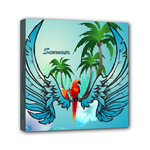 Summer Design With Cute Parrot And Palms Mini Canvas 6  X 6  by FantasyWorld7
