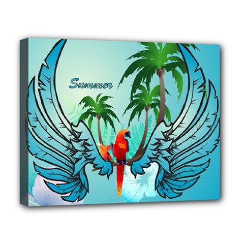 Summer Design With Cute Parrot And Palms Deluxe Canvas 20  X 16