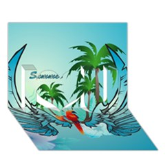 Summer Design With Cute Parrot And Palms I Love You 3d Greeting Card (7x5)