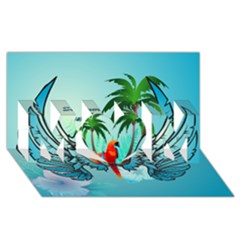 Summer Design With Cute Parrot And Palms Mom 3d Greeting Card (8x4)  by FantasyWorld7