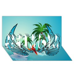 Summer Design With Cute Parrot And Palms #1 Mom 3d Greeting Cards (8x4)