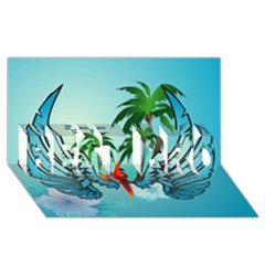 Summer Design With Cute Parrot And Palms BEST BRO 3D Greeting Card (8x4)