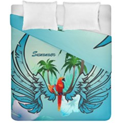 Summer Design With Cute Parrot And Palms Duvet Cover (double Size) by FantasyWorld7