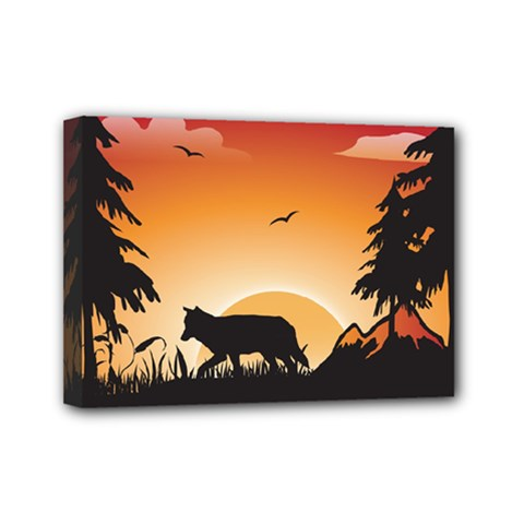 The Lonely Wolf In The Sunset Mini Canvas 7  X 5  by FantasyWorld7