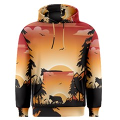 The Lonely Wolf In The Sunset Men s Pullover Hoodies