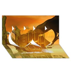 Awesome Sunset Over The Ocean With Ship Twin Hearts 3d Greeting Card (8x4)