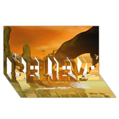 Awesome Sunset Over The Ocean With Ship Believe 3d Greeting Card (8x4)  by FantasyWorld7