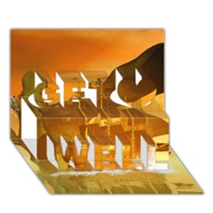 Awesome Sunset Over The Ocean With Ship Get Well 3d Greeting Card (7x5)