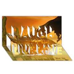 Awesome Sunset Over The Ocean With Ship Laugh Live Love 3d Greeting Card (8x4)
