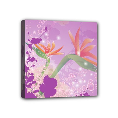 Wonderful Flowers On Soft Purple Background Mini Canvas 4  X 4  by FantasyWorld7