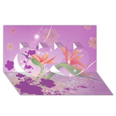 Wonderful Flowers On Soft Purple Background Twin Hearts 3d Greeting Card (8x4)  by FantasyWorld7