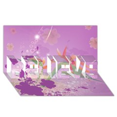 Wonderful Flowers On Soft Purple Background Believe 3d Greeting Card (8x4)