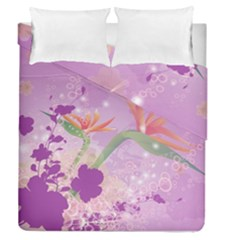 Wonderful Flowers On Soft Purple Background Duvet Cover (full/queen Size)