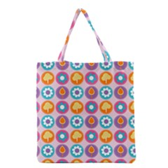 Chic Floral Pattern Grocery Tote Bags by creativemom