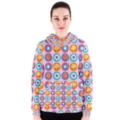 Chic Floral Pattern Women s Zipper Hoodies by creativemom