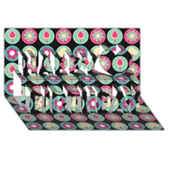 Chic Floral Pattern Happy Birthday 3D Greeting Card (8x4)